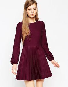 Image 1 ofASOS Textured Skater Dress with Pleated Hem