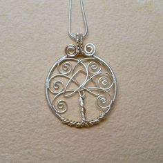 Tree of Life Pendant Necklace With Celtic Trinity Knot, Silver Plated Wire Wrapped Jewelry by Jana Rae