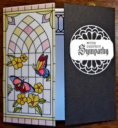 Sympathy card using Stampin' Up new vellum specialty paper and Painted Glass stamp set. Diecut the half circle twice to form a full circle. Used Stampin' Up Blender Pens to color the vellum stained glass window. Used framelit for the black border peaking out from the inside of the tri-fold card.