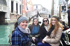 UD Students: Allison Gruwell, Megan Case, Hannah Tattersall, and Madison Chase take a gondola ride in Venice, Italy #UDAbroad