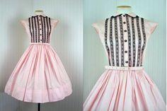 1950s Dress  Vintage 50s Pink Black Lace Rockabilly by jumblelaya, $168.00