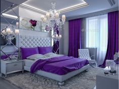 Rendering Bedroom In Gray And White Tones With Purple Accents