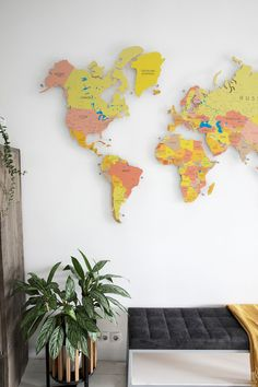 Colorful Push pin world wooden map by GaDenMap. 30 Push Pin FREE. Travel map for wall decor in office room, bedroom, living room, kid's room decorating. Unique gift idea for travelers #mapwalldecor #walldecor #babyroomdecor