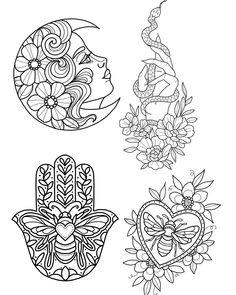 Available for late jan/ feb bookings. A deposit will secure a design ❤️… Flash Art Tattoos, Body Art Tattoos, Small Tattoos, Palm Size Tattoos, Tattoo Sketches, Tattoo Drawings, Kritzelei Tattoo, Tattoo Portfolio, Tattoo Stencils