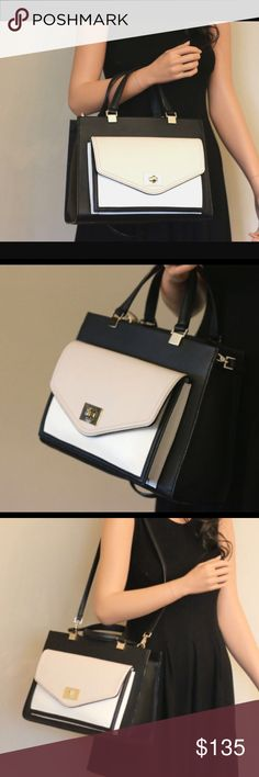 """Kate Spade Chantelle from Walter Place Gorgeous new collection from Summer 2016, hit stores in May 2016. Black & cream color.  open inside with 1 zip pocket and 2 small side pockets as well as a cross body strap 17"""". Measures 12.5"""" wide 9.5"""" tall 7"""" deep including front pocket. Original tags attached, brand new. Includes dust bag & care card. kate spade Bags Shoulder Bags"""