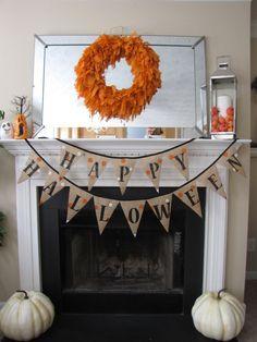 Happy Halloween Burlap Banner/Bunting