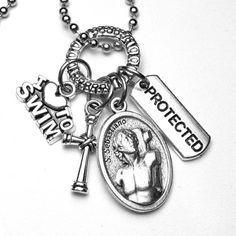 I Love to Swim Saint Sebastian Catholic Holy by St Sebastian, Patron Saints, Catholic, Swimming, Personalized Items, Trending Outfits, Unique Jewelry, Handmade Gifts, Etsy