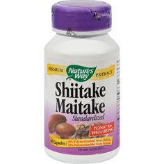 Natures Way Shiitake and Maitake Standardized - 60 Capsules - Natures Way Shiitake and Maitake Standardized Description: Shiitake--Maitake extract blend is standardized to 8% beta glucan, a key polysaccharide with proven health benefits. Natures Way Shiitake-Maitake is formulated in a base of oat powder. Disclaimer These statements have not been evaluated by the FDA. These products are not intended to diagnose, treat, cure, or prevent any disease. Ingredients: Shiitake Mushroom (mycelium…