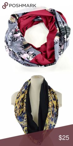 """Disney Villians Witches Infinity Women Scarf Disney Villians Witches Infinity Women Scarf This beautiful scarf is lightweight and designed to wear year round Width- Approximately 7"""" wide Length - Approximately 75"""" (circumference) Material - 100% cotton  *Dr. Who black scarf is to show how the scarf hangs, it is not for sale Handmade Accessories Scarves & Wraps"""