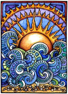 Learn How to Create Zentangle Art, a Meditative Form of Drawing Zentangle Patterns, Zentangles, Doodle Patterns, Inspiration Art, Art Inspo, Art Soleil, Art Hippie, Hippie Drawing, Wal Art
