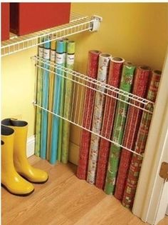 What a great. Idea for storing rolls of gift wrap!