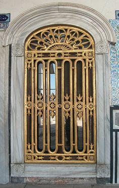 Gilded screen, Istanbul, Turkey. Ornate doors.