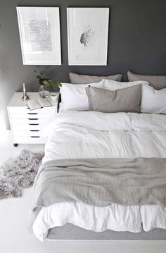 The bedroom is supposed to be a comfortable place to take a rest. A small bedroom is not an obstacle to create an attractive bedroom. Scandinavian bedroom design would be very suitable to be applied to bedroom designs, especially for… Continue Reading → Simple Bedroom Decor, Home Decor Bedroom, Decor Room, Bedroom Ideas, Bedroom Designs, Bedroom Art, Trendy Bedroom, Comfy Bedroom, White Bedroom Walls
