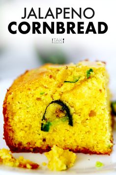 Jalapeño Cornbread is a sweet and savory Southern masterpiece of buttery, tender cornbread speckled with fresh, chopped jalapeños and melty Cheddar cheese! Make it in a casserole dish, a cast-iron skillet, or turn it into muffins! Then, serve this Cheesy Jalapeño Cornbread as a side dish alongside a hearty bowl of chili or at a potluck party, BBQs, holidays, and more! Potluck Recipes, Side Dish Recipes, Mexican Food Recipes, Barbecue Side Dishes, Mexican Side Dishes, Jalapeno Cheddar Cornbread, Cheddar Cheese, Thanksgiving Side Dishes, Thanksgiving Recipes