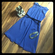 Anne Klein Periwinkle Dress 🌸Perfect for weddings!!!! 🌸AK Anne Klein structured periwinkle dress. Pleated collar adds detail. Skirt has two full length side panels on top full skirt. Excellent condition.  Belt is included (good condition, plastic). Anne Klein Dresses Midi