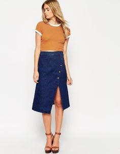 Image 1 ofASOS Denim Wrap Midi Skirt With Poppers