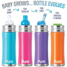 Features, Toddler Bottle with Silicone Soft Spout - SAFE: only 100% plastic-free bottle on the market; only NonToxic Certified bottles on the planet - Baby Grows...Bottle Evolves™: This bottle easily