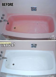 Before and after tub refinishing without the expensive cost of replacement by Miracle Method.