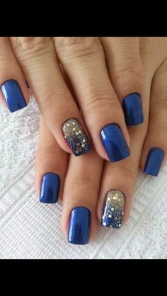 I love these! Gold blue nails