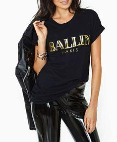 Black BALLIN Round Neckline Rolled-up Sleeves Print T-shirt