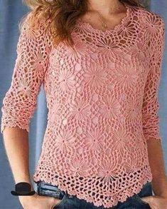 Pink crochet summer women crochet blouse - MADE TO ORDER