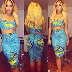 African print crop top and midi skirt