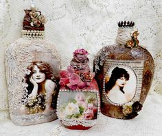 This altered art bottle is an old vintage bottle that is approx.4 wx1.5 d and approx. 9.5 tall to the very top of the bottle and is covered