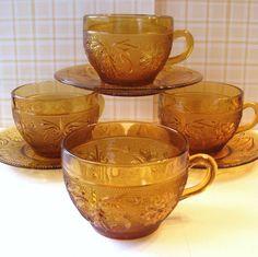 Tiara Glass Teacups and Saucers - Amber