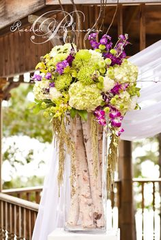 purple and green birch centerpieces