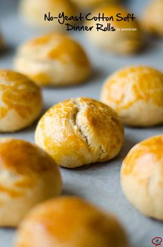 No Yeast Cotton Soft Dinner Rolls - Very soft and fluffy dinner rolls without yeast. Secret ingredients are yogurt, olive oil and baking powder
