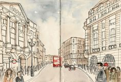 Sketches of London, Europe, travel, art, drawings