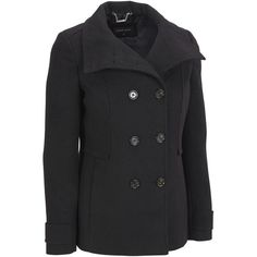 Plus Size Black Rivet FauxWool Funnel Neck Peacoat ($70) ❤ liked on Polyvore featuring plus size women's fashion, plus size clothing, plus size outerwear, plus size, pea jacket, slim fit peacoat, slim fit double breasted peacoat, double-breasted pea coat and double breasted peacoat