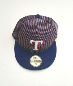 best website dbc9b e9423 New Era Texas Rangers 5950 Team Shift MLB Fitted Hat Blue Red White Size