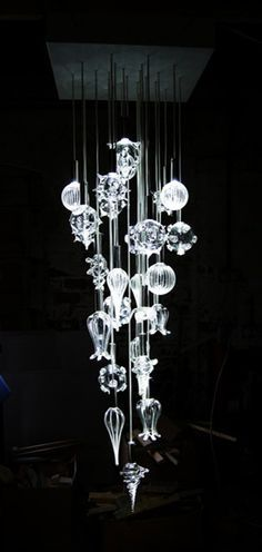 Contemporary Chandelier Company The Sea Form Chandelier made from clear glass