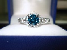 1.39 Carat Certified Fancy Blue & White Diamond Engagement Ring 14K White Gold Halo Handmade. wedding ring.