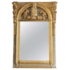 Blue Painted and Gilded Carved Mirror Made with Early Alter Elements 1