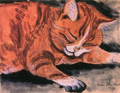Oscar Bluemner (1867-1938, German-American) was a draftsman and painter.He loved his cat Florianus so much that when he died, he took the cat's name...