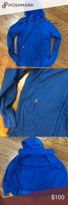 Like new royal blue lululemon jacket Hardly worn Royal Blue Lululemon lightweight jacket. Cinches at waist. Has hood and air vents. Great for running. lululemon athletica Jackets & Coats