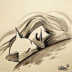 ONE SLEEP Original painting by Raphaël Vavasseur art Art portal: Art Et Illustration, Illustrations, Art Du Croquis, Art Sur Toile, Cat Art Print, Cat Tattoo, Cat Drawing, Crazy Cats, Art Sketches