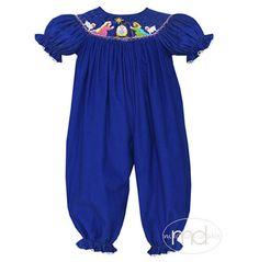 3c7bcb8f689 Anavini Christmas Nativity Girls Smocked Blue Bubble from Madison-Drake  Children s Boutique