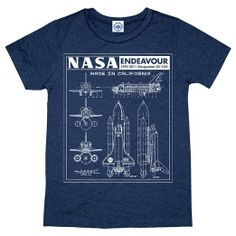 Amazon.com: Hank Player Men's NASA Endeavour Blueprint' T-Shirt: Clothing