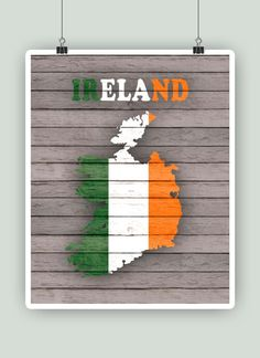 Personalized Ireland map print with flag Ireland by PrintCorner