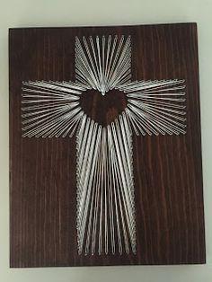 String Art Cross with Heart