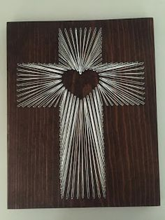 String Art Cross with Heart