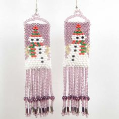 Purple White Snowman Beaded Earrings