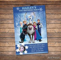Frozen Birthday Invitation: Printable Frozen Party Invite with Elsa, Anna, Olaf and Kristoff, with Photo, Girl or Boy Girls Party Invitations, Frozen Birthday Invitations, Frozen Themed Birthday Party, Print Your Own Invitations, Disney Invitations, Printable Birthday Invitations, Frozen Party, 5th Birthday, Birthday Party Themes