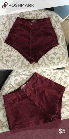 High waisted corduroy shorts Maroon corduroy high waisted shorts. Small Shorts