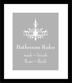 Bathroom Rules Wash Brush Floss Flush Bathroom Art  by karimachal, $10.00