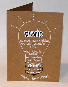 Bright Boss- Personalized Boss's Day Card by thepaperhugfactory on Etsy