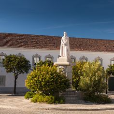 The statue of Dom Francisco Gomes de Avelar in the old town of Faro, Portugal.